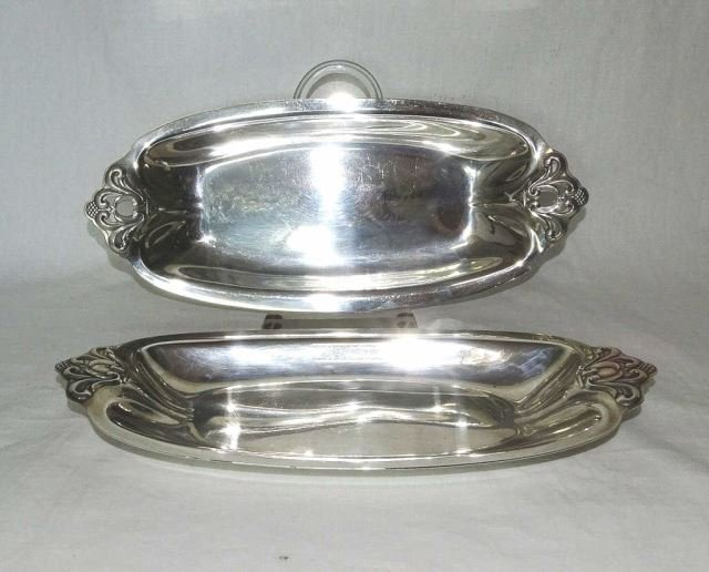 Pair Royal Danish Sterling Bread Plates