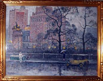 """Guy Wiggins, Oil Painting, """"Rainy Day"""", 1927"""