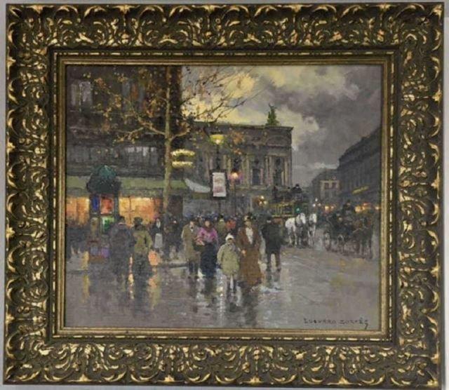 """Edouard Cortes Painting """"Cafe de la Paix, Ave."""""""