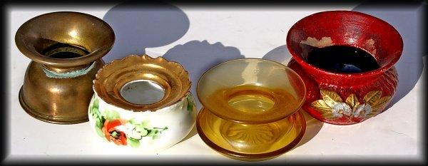 5: 4 dainty & classy ladies spittoon: amber glass, hand