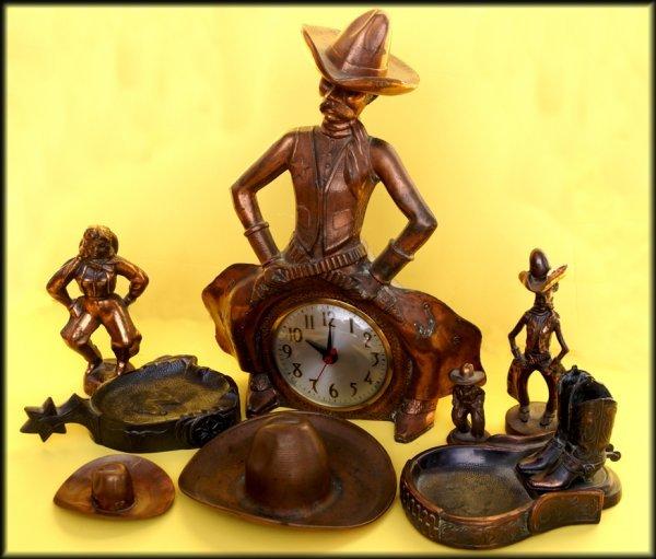 16: 8 pieces of Copper bowlegged Cowboys, bowlegged Cow