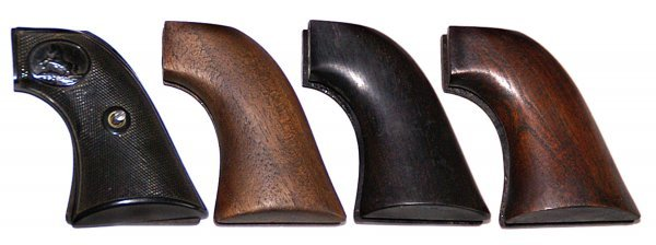 17: 4 pair of Colt SAA grips, 1 rubber, 3 wood. LS Coll
