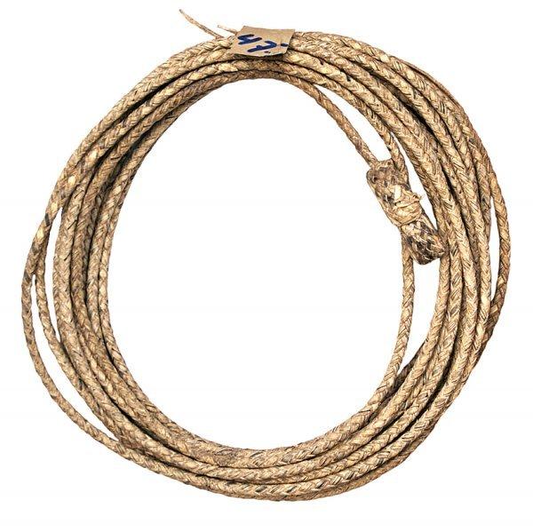 34: 47 ft. braided rawhide cowboy reata.