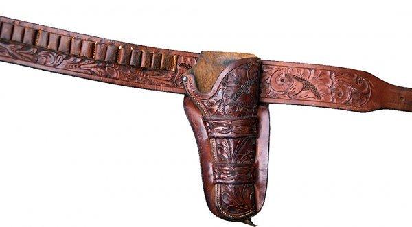40: Heiser marked Colt SAA rig, exc. cond.