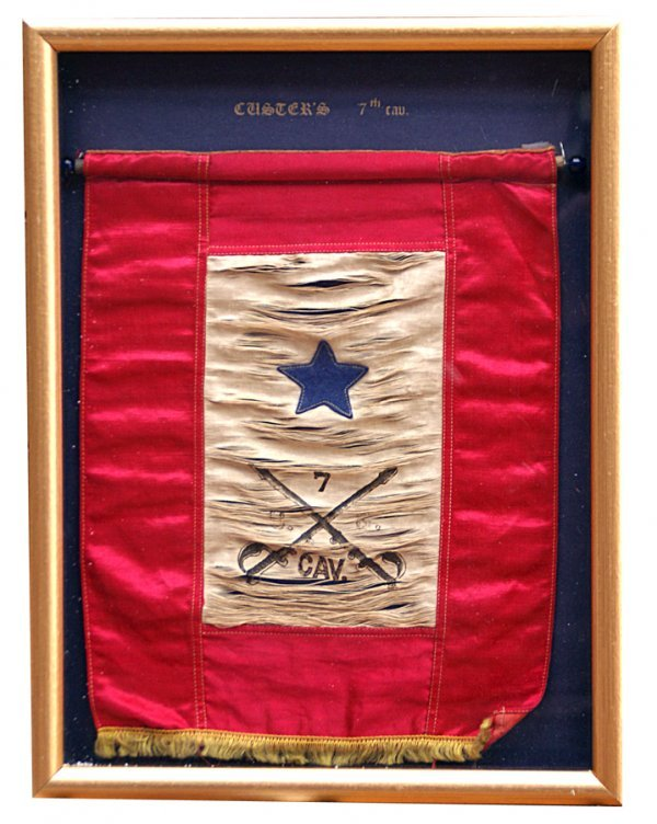 """210: From Yates chest, framed 7th Cavalry flag, 10"""" x 1"""