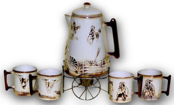 412: Rare McCoy Pottery Western Serving Set.  Includes: - 3