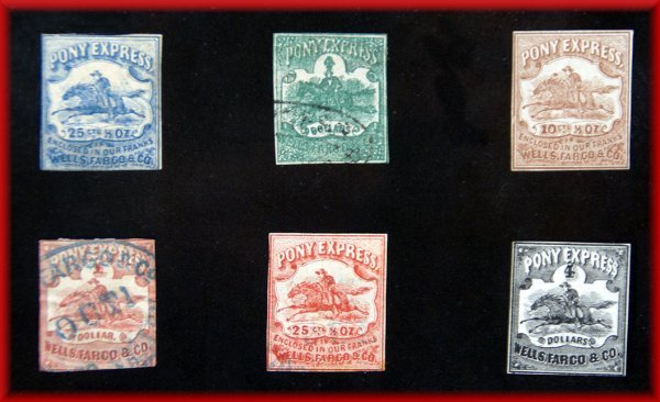 518: 7 Pony Express Collector stamps. LS Coll.