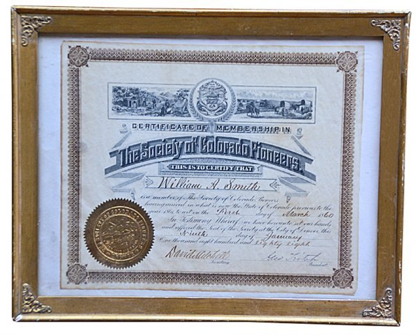 523: Framed Certificate of Membership for Colorado Pion