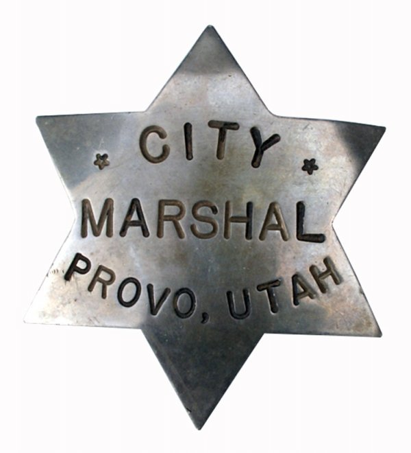 535: 3 badges: City Marshall, Provo Utah; Hat Badge Fir