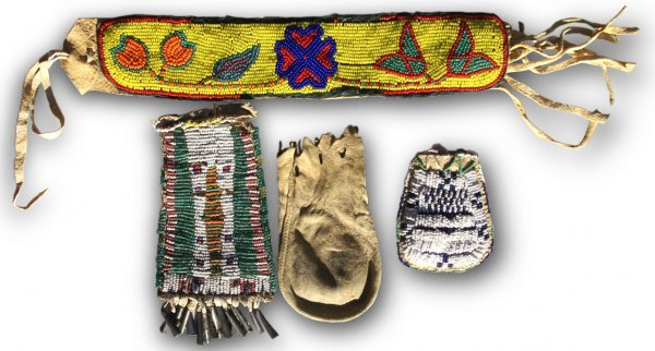 536: Crow beaded band and pouch; plus 1890's Apache str