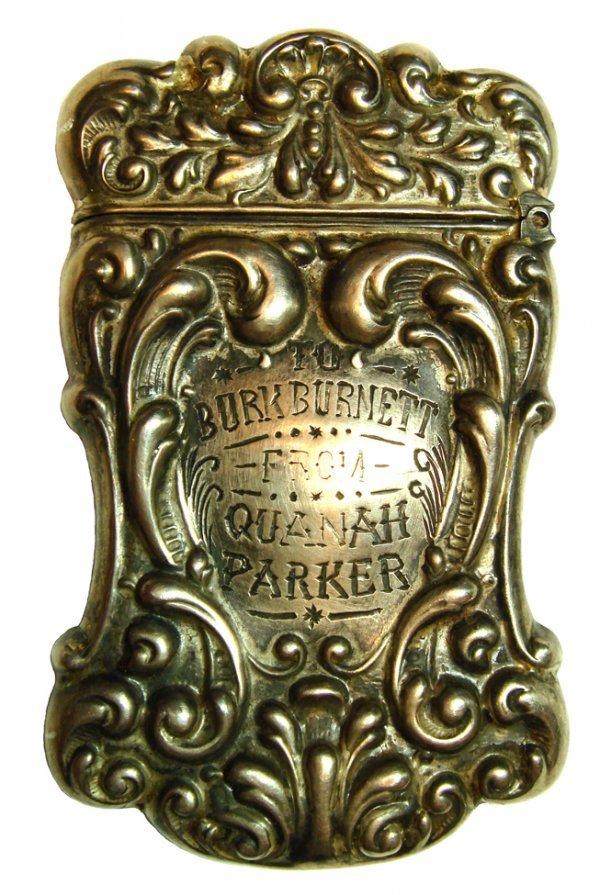 689: Ornate sterling match safe inscribed to Burk Burne
