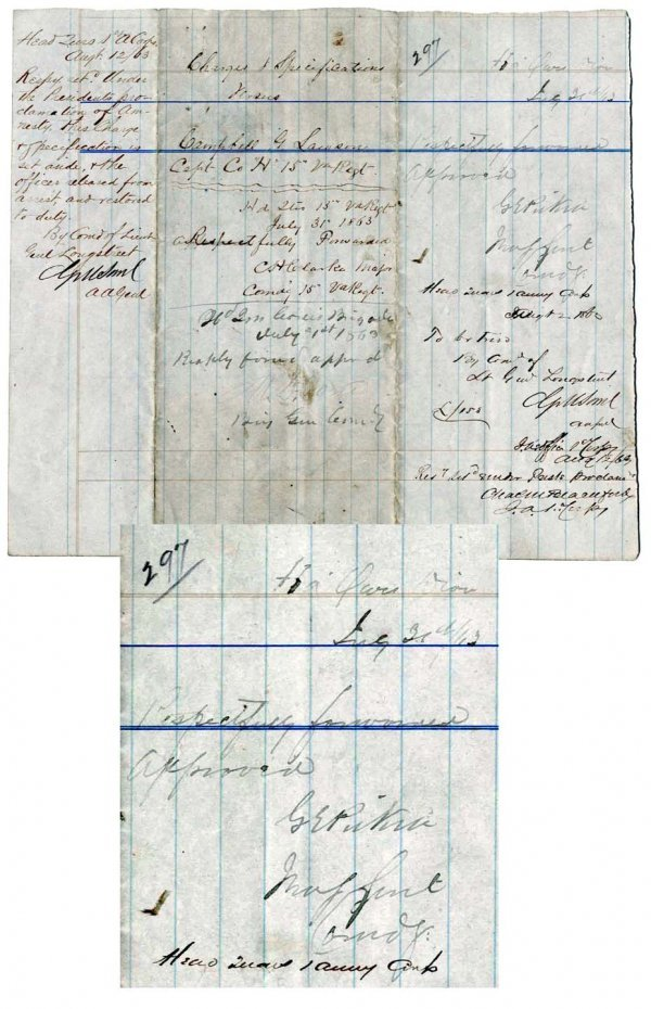 1: Signed Inscribed Document Gen George Pickett Sig CW