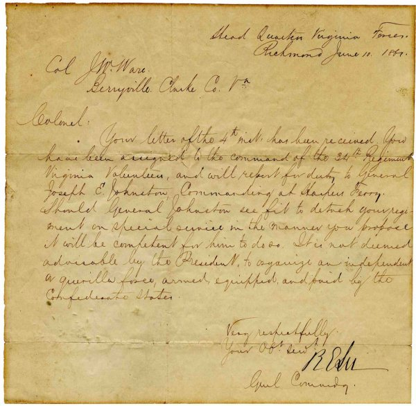 6: Robert E Lee Signed Wartime Dispatch Signature