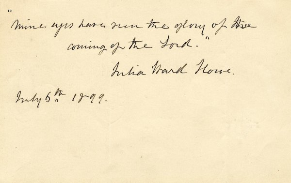 507: Autograph Note Signed ANS Julia Ward Howe