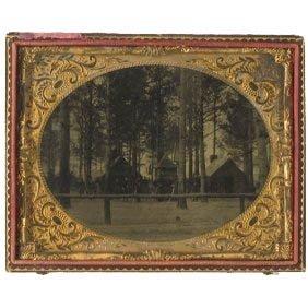 1107: Half-Plate Tintype Union Camp Winter Civil War Ph