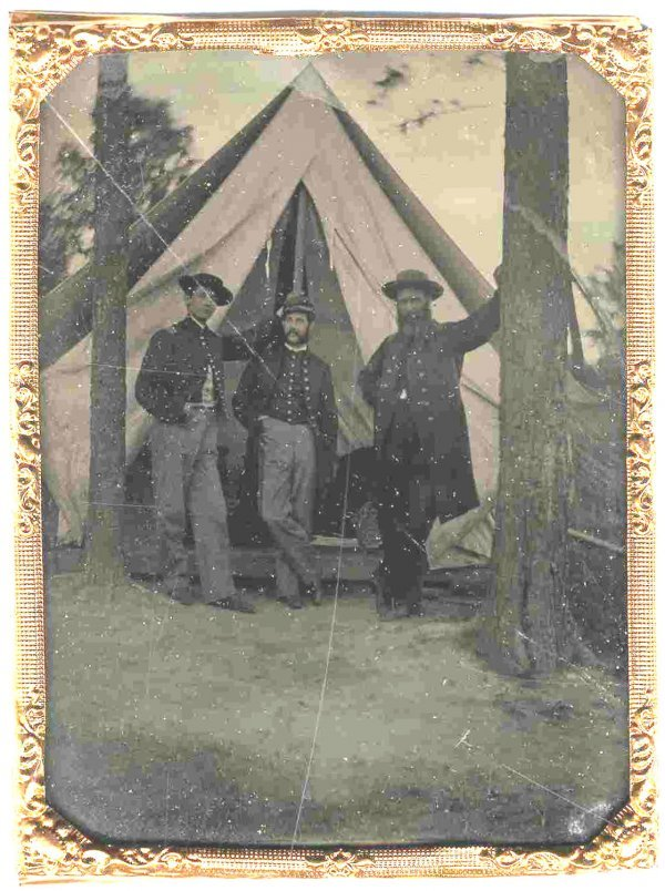 1108: Quarter-Plate Tintype Union Soldiers Camp Civil W