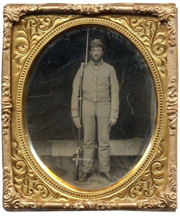 1111: Civil War Ambrotype Confederate Soldier Rifle