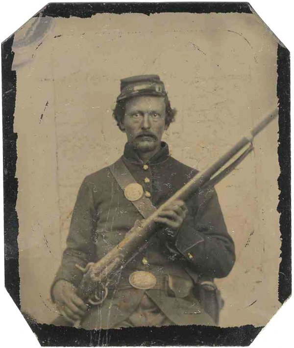 1114: Civil War Tintype Armed Soldier Photograph