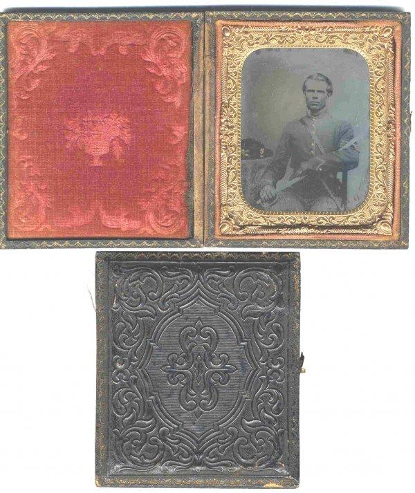 1123: Civil War Tintype Confederate Soldier Photo