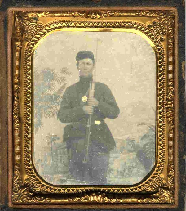 1127: Civil War Tintype Armed Soldier Photograph
