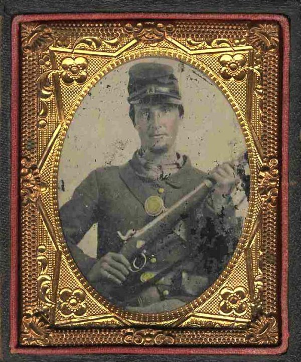 1128: Civil War Ambrotype Armed Soldier Photograph