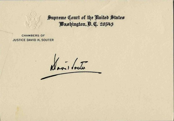 1585: Rare Autograph Supreme Court Justice David Souter