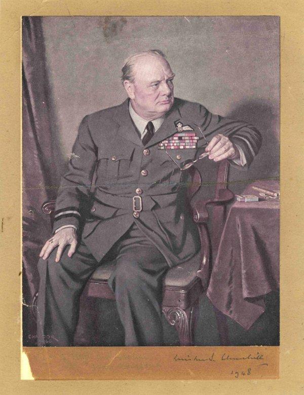 1586: Signed Winston Churchill Autograph Portrait Brita
