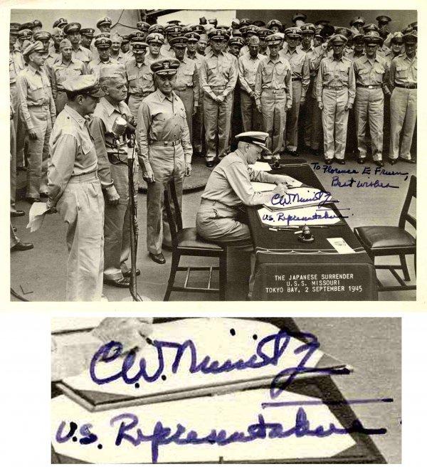 1589: Admiral Nimitz Signed Photo Missouri Autograph WW