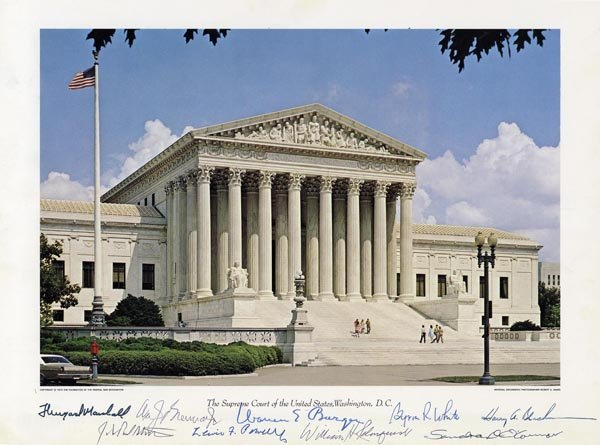 1595: US Supreme Court Building Photo Signatures Burger