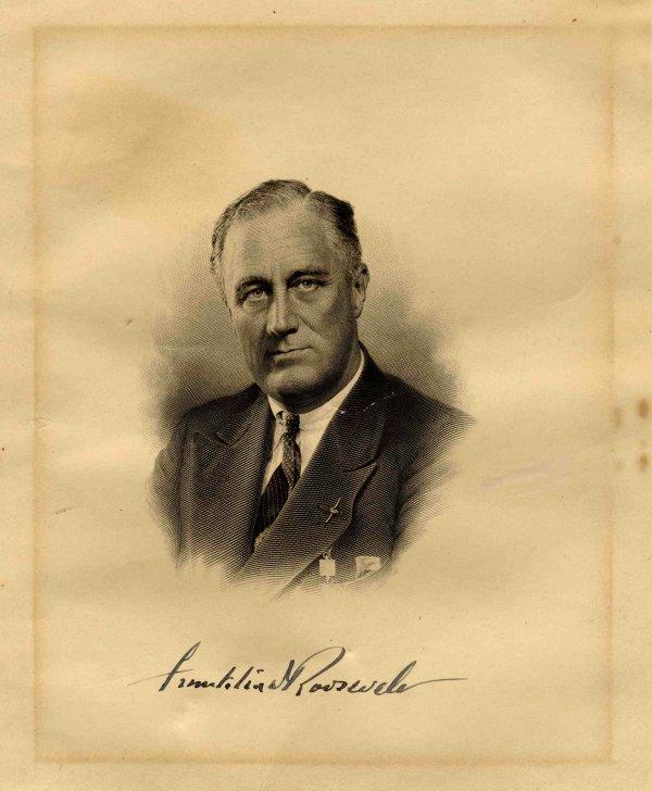 1599: Franklin Roosevelt FDR Signed Photo President