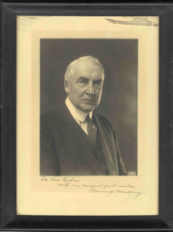 1601: Signed Inscribed Warren Harding Photograph Politi
