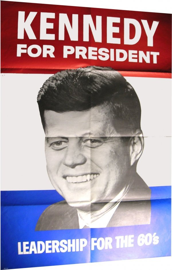 2171: John Kennedy JFK President Campaign Poster Memora