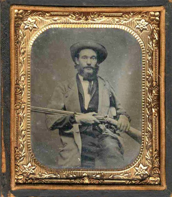 2258: Civil War Tintype Confederate Soldier Rifle Pic