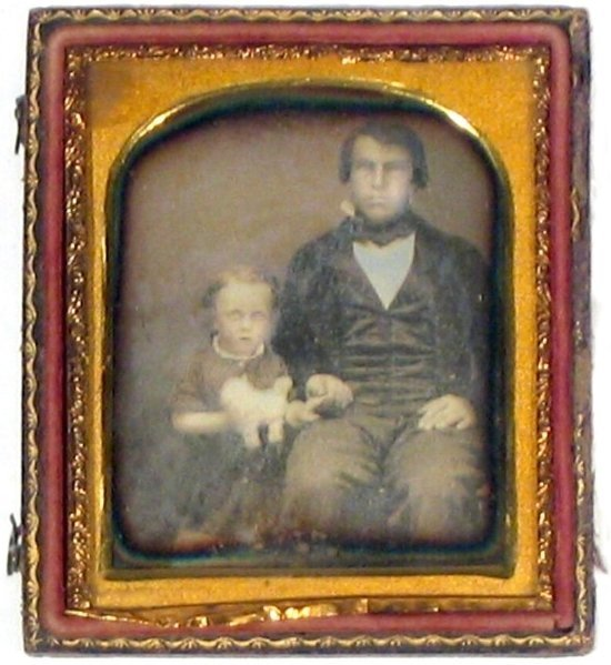 2264: Sixth-Plate Daguerreotype Father Child Toy