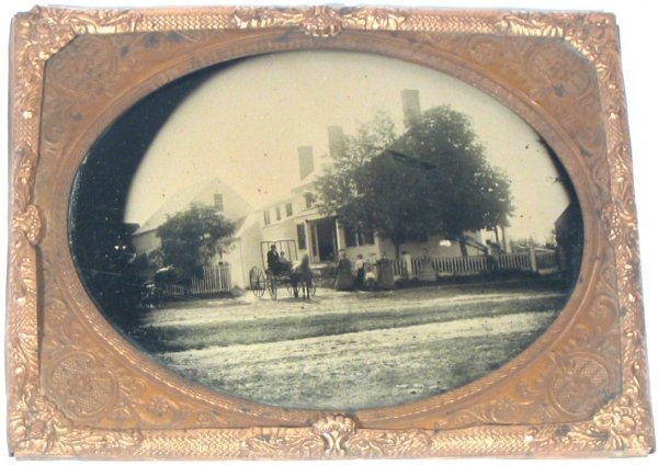 2265: Half-Plate Ambrotype House Pre-Civil War 1850
