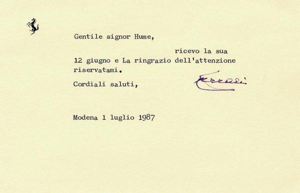 3361: Enzo Ferrari Typed Letter Signed Racing Motor Car