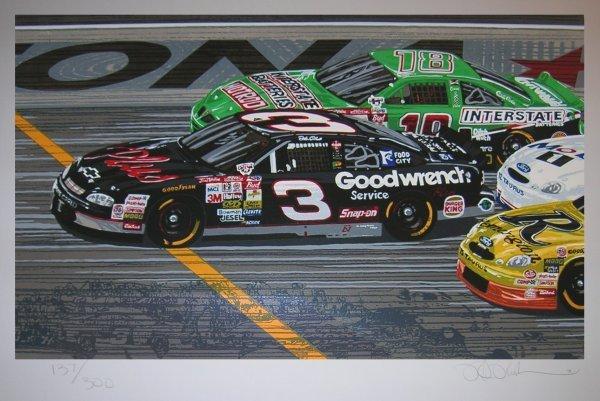3366: Daytona 500 Dale Earnhardt Lithograph Signed Rush