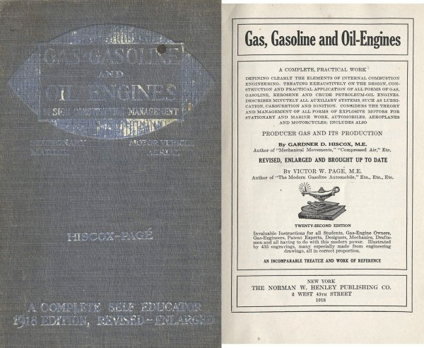 3369: Automobile Book Gas Oil Engines Hiscox Page Motor