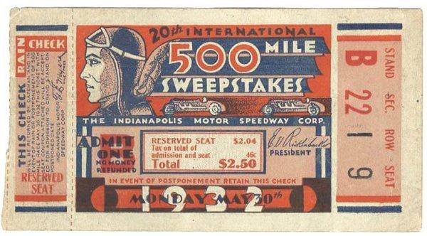 3392: 1932 Indianapolis 500 Speedway Ticket Motor Car R