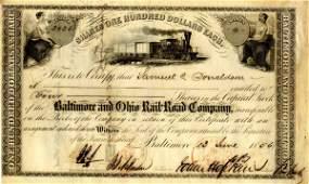 3454: Hopkins Signed Baltimore OH Railroad Stock Certif