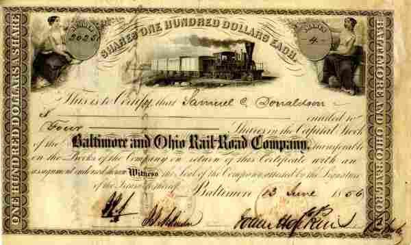 Hopkins Signed Baltimore OH Railroad Stock Certif