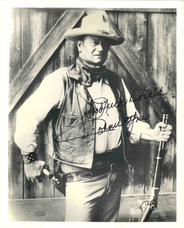2775: Signed Inscribed Photo John Wayne Cowboy Actor Du