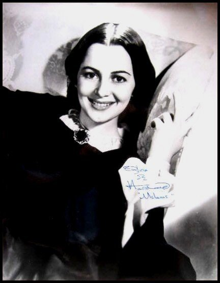 2792: Olivia De Havilland Signed Photo Gone With Wind A