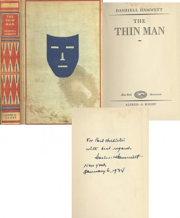 2909: Dashiell Hammett Signed 1934 First Edition The Th