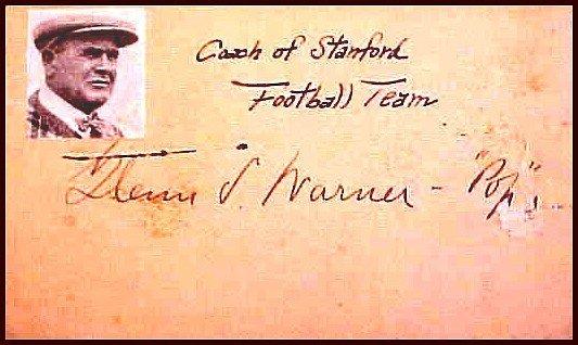 3876: Glen Pop Warner Signed Government Autograph