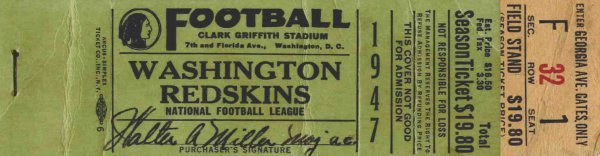 3885: Washington Redskins Boston Yanks Full Ticket