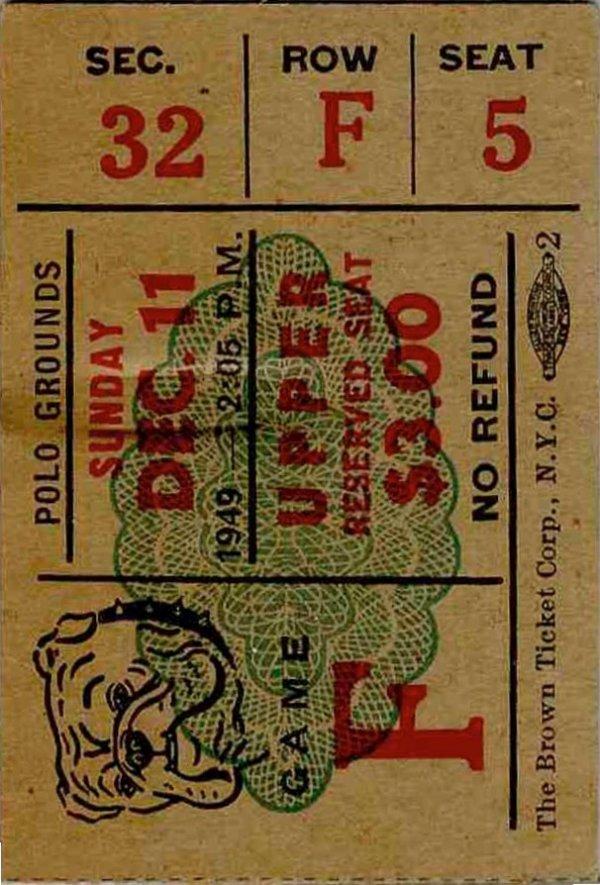 3887: Pittsburgh Steelers NY Bulldogs Ticket Pro Footba