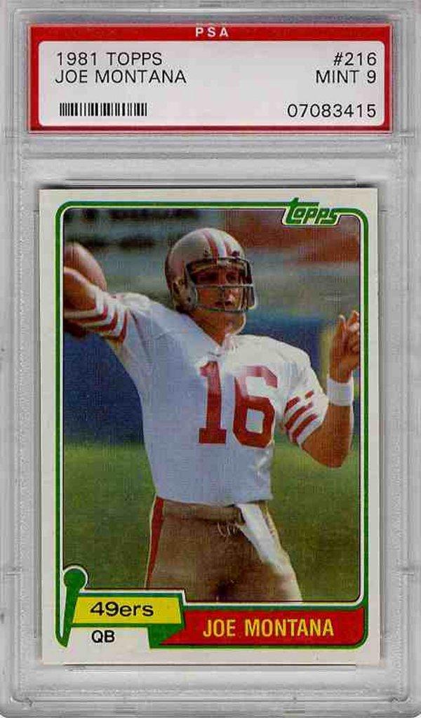 3890: 49ers Rare Joe Montana Topps Rookie Card Quarterb