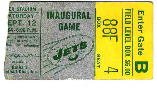 3892: Ticket New York Jets First Game Played Shea Stadi