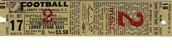 3893: Buffalo Bisons Football Dodgers Ticket Pro Footba